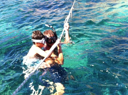 Baignade sur mouillage de bateau loué en Corse