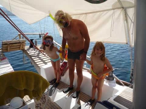 Clowneries aquatiques sur une location de voilier avec skipper